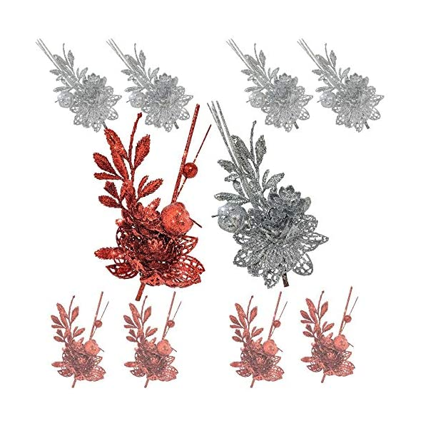 Red and Silver Christmas Sprays – Set of 10 Twigs with Alligator Clips Attached – Artificial Poinsettia Flowers and Fern Design