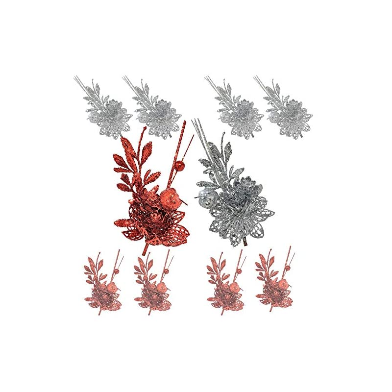 silk flower arrangements red and silver christmas sprays - set of 10 twigs with alligator clips attached - artificial poinsettia flowers and fern design