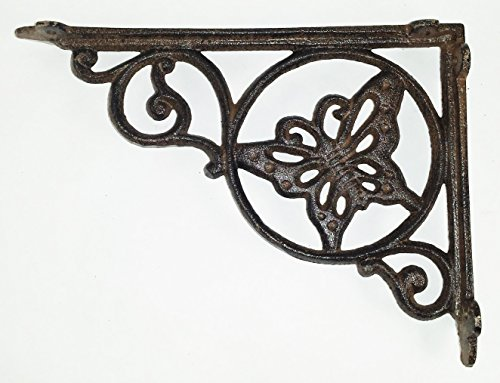 Aunt Chris' Products - Butterfly Shelf Bracket - Heavy Cast Iron - Holes For Light To Shine Thru Middle - All-Purpose - Scroll Work Design - Rustic Dark Brown Color - Can Be Used Indoor Or Outdoor!