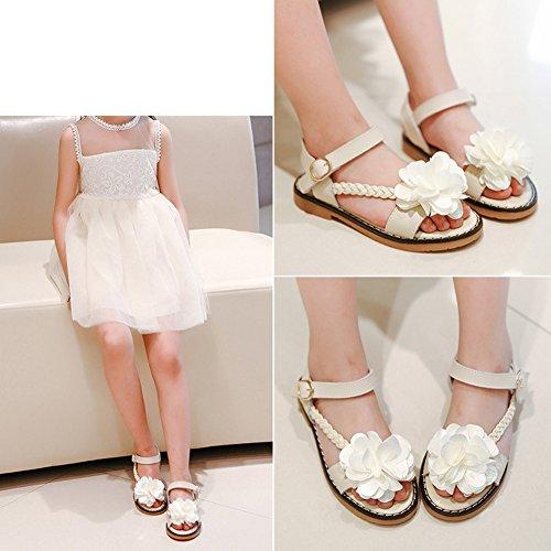 Scothen Niñas strappy sandalias zapatos de verano zapatos casuales zapatos de las sandalias de playa sandalias sandalias romanas los niños zapatos princesa del flip-flop los zapatos la bailarina White