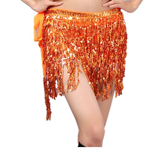 Vogue Style Women's Jazz Belly Dance Hip Scarf Jazz Skirt With Four Rows of Sequins Fringe(Orange) ()