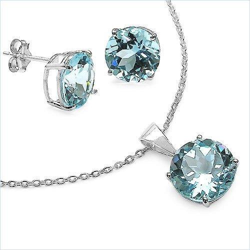 Bijoux Schmidt-SET 4-pièces boucles d'oreilles topaze bleue, collier, pendentif-6, 66 carats