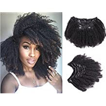 "Ms Fenda Afro Kinky Curly 4B 4C Clip In Hair Extensions Brazilian Remy Virgin Hair Natural Color 120Gram 7Pcs/Set (18"", Afro Kinky Curly)"