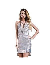 Missord Women's Sexy sleeveless Deep-V backless halter sequin necklace dress