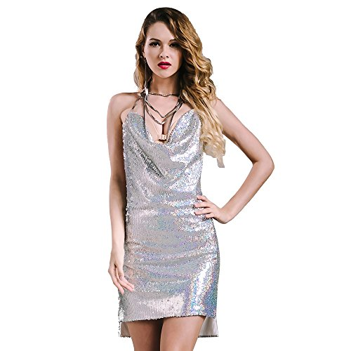 Missord Women Sexy sleeveless Deep-V backless halter sequin necklace dress Silver Small ()