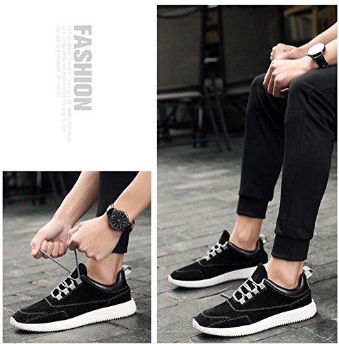 Onfly Bomba Hombres Zapatos deportivos Zapatos casuales Placa Zapatos Zapatos para correr Color puro Punta redonda Cordon de zapato Snekers Tamaño de la UE 39-44 Black