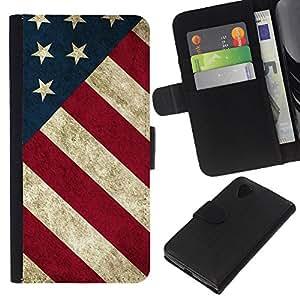EJOY---La carpeta del tirón la caja de cuero de alta calidad de la PU Caso protector / LG Nexus 5 D820 D821 / --Raya de la bandera americana patriótica Rústico