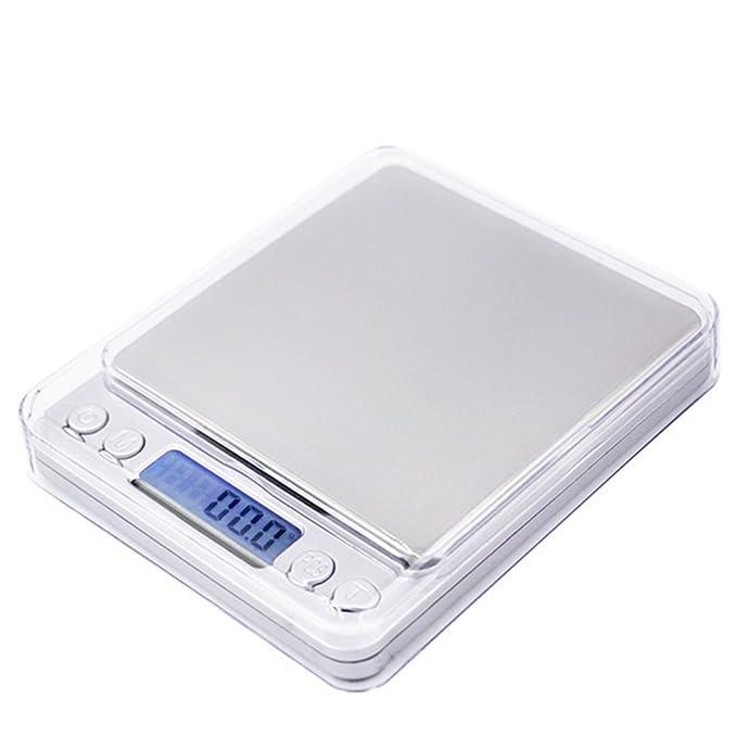 Hoosiwee Báscula de Cocina, 3000g 0.1g Báscula de Bolsillo de Precisión, Báscula de Joyería, con Pantalla LCD, Plataforma de Acero Inoxidable, ...