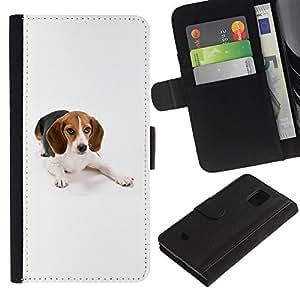 Stuss Case / Funda Carcasa PU de Cuero - Beagle Foxhound Dog Pet White - Samsung Galaxy S5 Mini, SM-G800