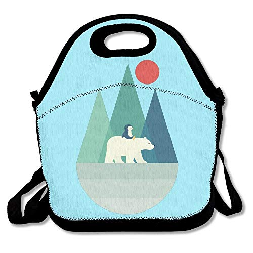Duo Penguin (Polar Bear And Penguin Lunch Bags Insulated Travel Picnic Lunchbox Tote Handbag With Shoulder Strap For Women Teens Girls Kids Adults)