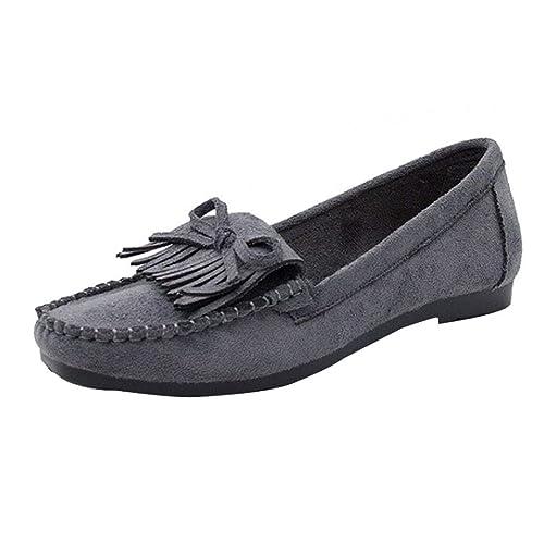 Mocasines de Plano Borla para Mujer, QinMM Zapatos cómodos del otoño del Verano Casual Merceditas: Amazon.es: Zapatos y complementos
