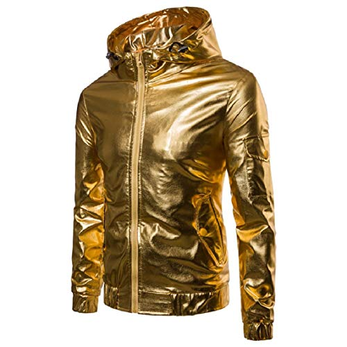 Outwear Zip golden Hooded Windproof Glitter Mens Energy Windbreaker Jackets Full RCwB44q