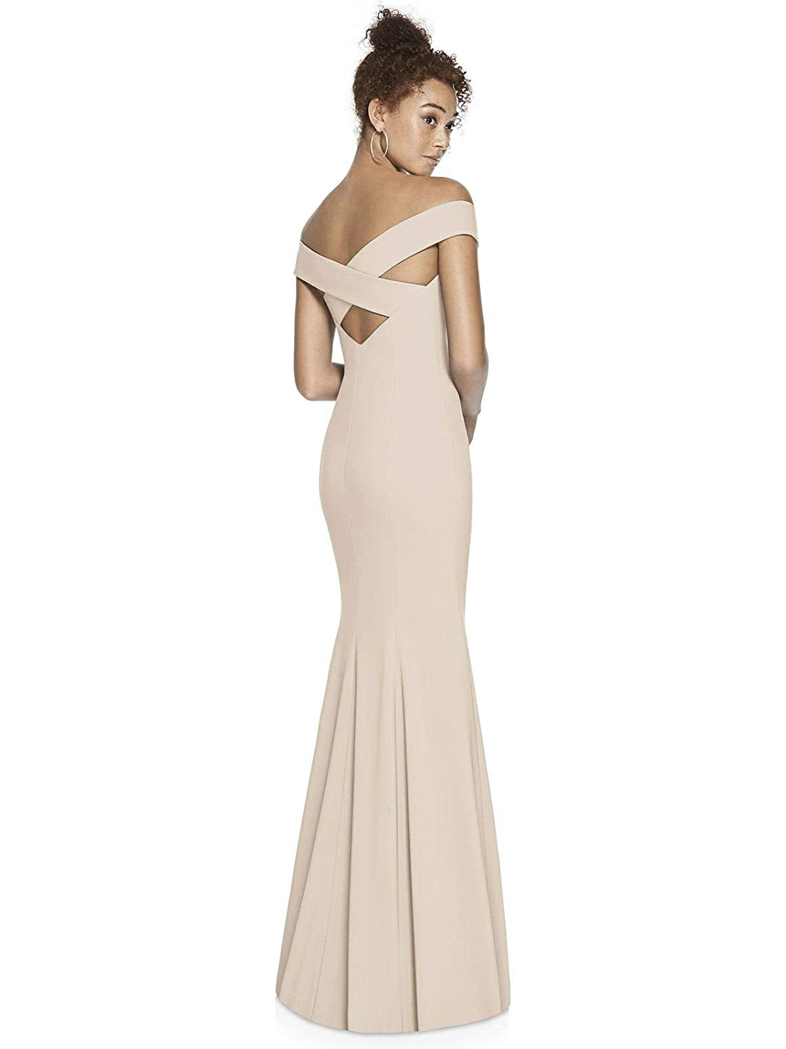 0f1a5932fed Dessy Collection Crepe Trumpet Full Length Off The Shoulder Special  Occasion Cocktail Dress 3012 at Amazon Women s Clothing store
