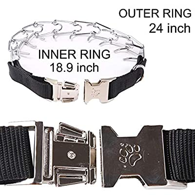 Dog Prong Training Collar,4 mm Strong Stainless Steel Choke Pinch Collars Chrome Plated Collar with Extra 2 Links and 5 Comfort Tips, 24 inch for Large Dogs by SLSON
