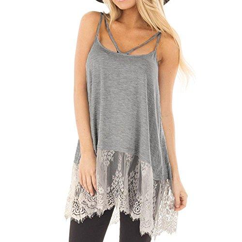 Halter Shirt Top Empire (KESEE Clearance Women Sexy Lace Patchwork Cross Dress Bandage Backless Sleeveless Sling Dress Basic Tank Tops Dress (XL, Gray))