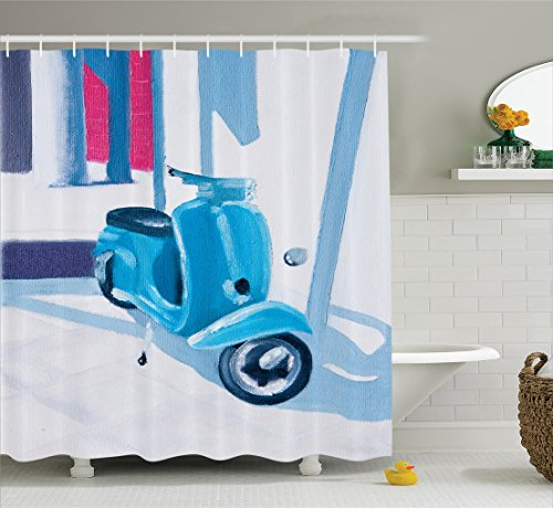 Ambesonne Country Decor Shower Curtain Set, Mini Scooter in a Soft Mediterranean Mid Day Light Italian Town Life Symbol Art Paint, Bathroom Accessories, 84 inches Extralong, Blue -
