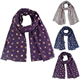Miklan Christmas Snow Printed Scarf Wrap Silk Shawl Travel