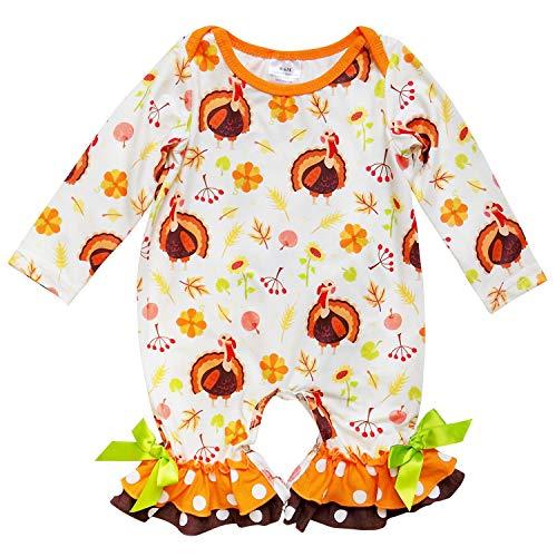 So Sydney Girls Toddler Baby Infant Fall Halloween Long Sleeve Pumpkin Romper (L (12-18 Months), Little Turkey) ()