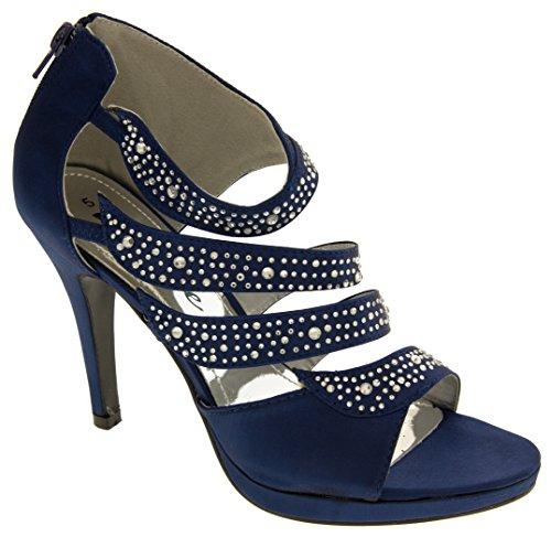 Divine Mujer Satén y Diamante Sandalias de la Boda Azul Marino