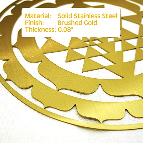 CANDIKO Sacred Geometry Stainless Steel Metal Wall Art Sri Yantra Symbol Decor 12 inch (Gold, Large)