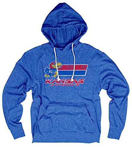 Jayhawk Tee (NCAA Kansas Jayhawks Men's Tri-Blend Hooded Tee, Royal,)