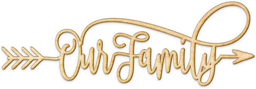 """Our Family Arrow Wood Sign Our Family Decor Wall Art Rustic Front Door Unfinished 18"""" x 6"""""""
