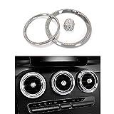 Thor-Ind Air Conditioner Vent Ring Trim For Mercedes-Benz C GLC 2015-2018 C180 C200 GLC260 GLC300 AC Air Outlet Decoration Ring Cover Cap Sticker Car Central Console Diamond Decoration 15pcs(Air Vent)