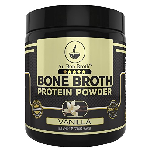 Genuine Grass Fed Organic Bone Broth Protein Powder Collagen 16oz. Vanilla Flavor 28 Servings, Mixes Instantly, Gluten Free, Pasture Raised, 100% Sourced, Made in USA, NOT from Concentrate