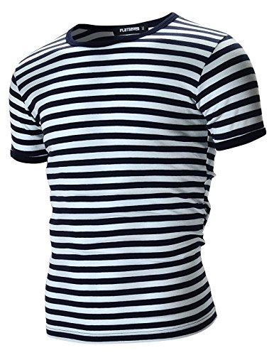 FLATSEVEN Mens Casual Wide Striped Crew Neck Short Sleeve Tee Shirt (TR1002) Navy, L