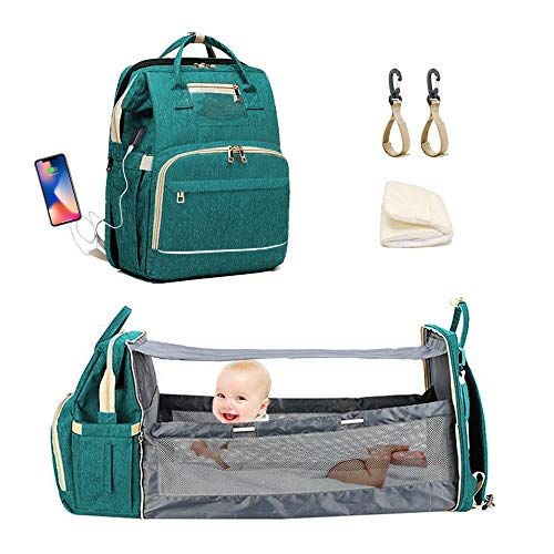 [Deluxe Version]Diaper Bag Baby bed, ESTB Travel Bassinet Backpack Portable Infant Crib with Sunshade and USB Charging Port for Mom