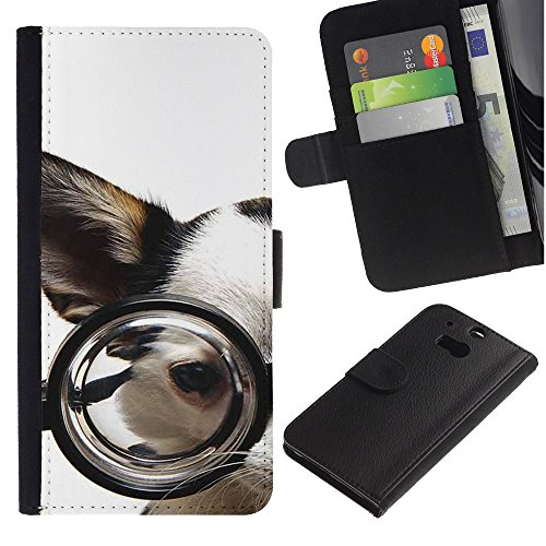 EuroCase - HTC One M8 - glasses Chihuahua dog pet canine white - Cuero PU Delgado caso cubierta Shell Armor Funda Case Cover