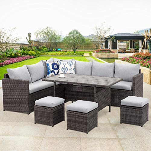Wisteria Lane Patio Furniture Set,7 PCS Outdoor Conversation Set All Weather Wicker Sectional Sofa Couch Dining Table Chair with Ottoman,Grey (Patio Home Dining Depot Set)