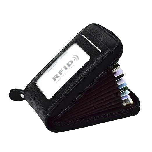 99b353bd63c5 Lacheln RFID Blocking Credit Card Organizer Wallet Genuine Leather Zipper  Security Travel Small Money Holder with ID Window