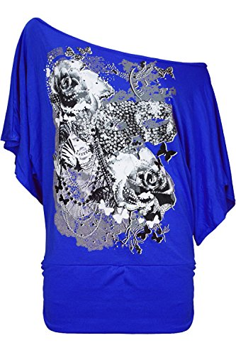 Oops Outlet Women's Roses Butterfly Off Shoulder Bardot Batwing Sleeve Tops M/L (US 8/10) Royal Blue