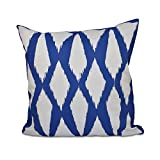E By Design Geometric Decorative Outdoor Pillow, 18-Inch, Dazzling Blue