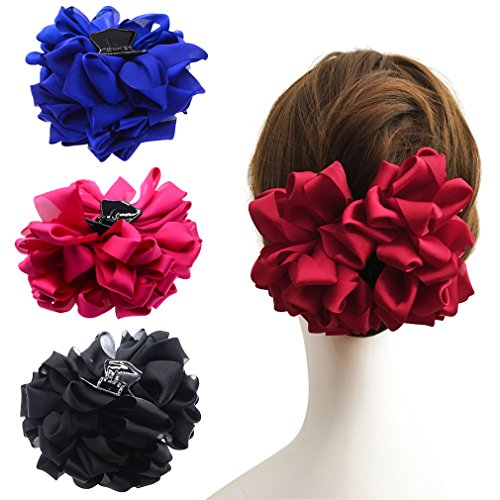 Large Silk Flower Bow Hair Claw Jaw Clips For Women Hair clamps