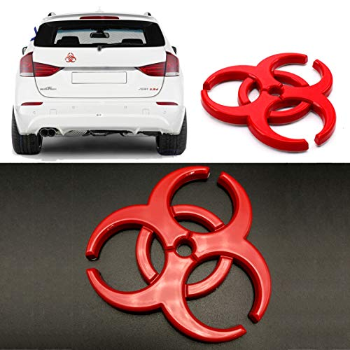 - YSpring Resident Evil Strain 3D Metal Decals Multicolor Electroplated Zinc Alloy Umbrella Corporation Biohazard Symbol Tail Side Marker Car Stickers(Red-2.44