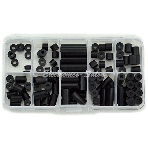 Black Plastic Screw (Electronics-Salon Black Nylon Round Spacer Assortment Kit, for M3 Screws, Plastic.)