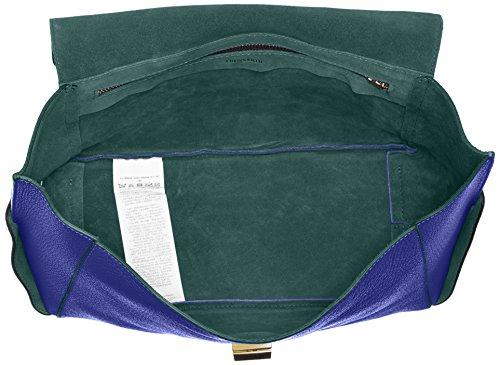 Trussardi Jeans Ginger Borsa a Mano, 29 cm, Blu China/Verde