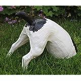 Dekorationsfigur halber Hund H 25 cm Gartenfigur aus Kunstharz