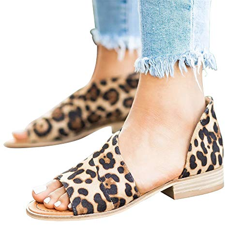 SNIDEL Womens Faux Leather Sandal Open Toe Flats Sip on Summer Casual Low Heels Shoes Leopard 10.5 B (M) US