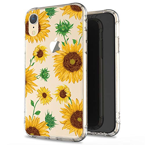 JIAXIUFEN Clear Case Cute Sunflowers Slim Shockproof Flower Floral Desgin Soft Flexible TPU Silicone Back Cover Phone Case for iPhone XR 2018 6.1 inch