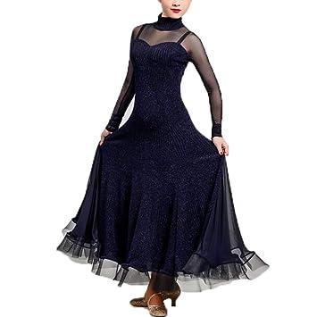Liu Sensen Otoño Invierno Vintage Danza Vestido Azul Oscuro Hilados Tejidos Latino Danza del Vientre Traje