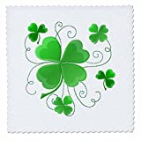 3dRose qs_11678_2 This Design is of Some Lucky Shamrocks Just in Time for St. Patricks Day-Quilt Square, 6 by 6-Inch