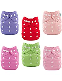 ALVABABY Baby Cloth Diapers 6 Pack with 12 Inserts Adjustable Washable and Reusable Pocket Diapers for Baby Girls...