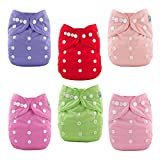 #9: ALVABABY Baby Cloth Diapers 6 Pack with 12 Inserts Adjustable Washable and Reusable Pocket Diapers for Baby Girls 6BM88