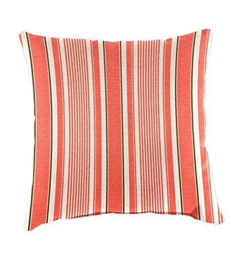 Plow & Hearth 39199-922 Weather Resistant Outdoor Classic Throw Pillow, Coral Ticking Stripe (Ticking Stripe Classic)