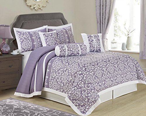 Price comparison product image HIG 7 Piece Comforter Set Queen- Purple White Floral Printed - HELENA Bed In A Bag Set Queen Size- Soft, Hypoallergenic,Fade Resistant -Includes 1 Comforter, 2 Shams, 3 Decorative Pillows, 1 Bed Skirt