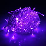 HDE Linkable LED String Lights Holiday Home Fairy Multifunction Wedding College Dorm Room Craft Decoration Expandable Rope Lights (100 Micro LEDS - Purple)