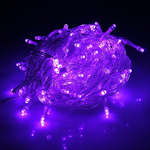 HDE Linkable LED String Lights Holiday Home Fairy Multifunction Wedding College Dorm Room Craft Decoration Expandable Rope Lights (100 Micro LEDs - Purple)]()